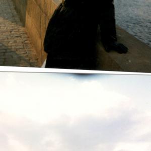 Praga - Donatella Marazziti sul ponte Carlo V Incontro della scuola Toscana di Psichiatria (Praga, Cecoslovacchia, 18-21 Marzo, 1999)