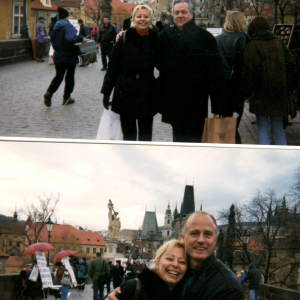 Praga - Donatella Marazziti con Luciano Conti in alto  e Stefano Pallanti in basso V Incontro della scuola Toscana di Psichiatria (Praga, Cecoslovacchia, 18-21 Marzo, 1999)